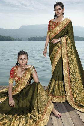 Olive Green Fancy Art Silk Festive Saree