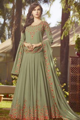 Olive Green Georgette Wedding Salwar Suit
