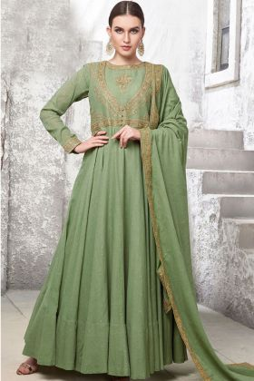 Olive Green Gown Design
