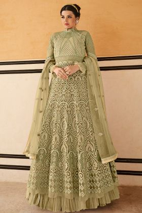 Olive Green Gown Style Suit Online