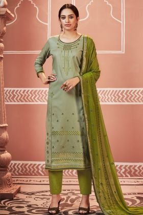 Olive Green Jam Cotton Pant Style Suit