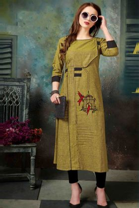 Olive Green Khadi Cotton Kurti