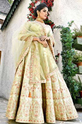 Olive Green Malai Satin Bridal Lehenga Choli