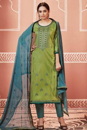Olive Green Pant Style Salwar Kameez