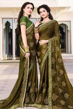 Olive Green Satin Chiffon Wedding Saree Online