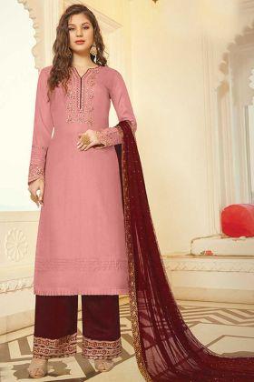 Onion Pink Color Designer Party Wear Plazzo Style Suit
