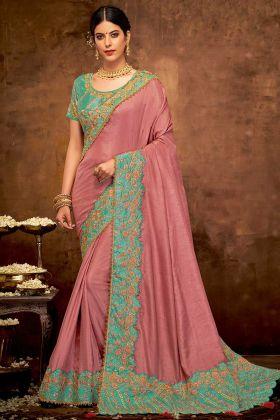 Onion Pink Color Zari Embroidery Work Silk Georgette Wedding Saree