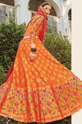 Online Bridal Orange Banarasi Weaving Silk Lehenga Choli