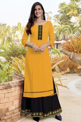 Online Trendy Slub Cotton Yellow Sharara Kurti Set