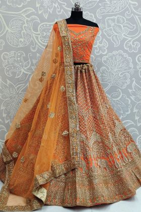 Only Focus On Orange Color Dori Embroidered Net Bridal Lehenga