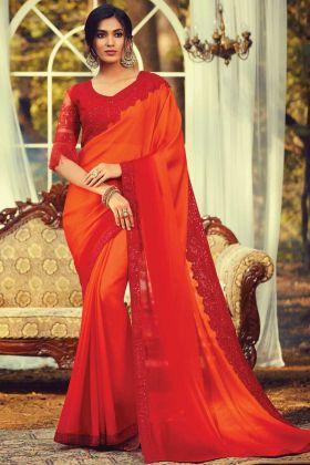 Orange Burberry Silk Traditional Saree With Heavy Border