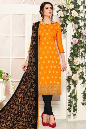 Orange Color Banarasi Silk Churidar Material