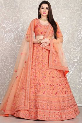 Orange Color Bridal Wear Latest Designer Lehenga Choli