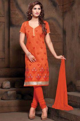 Orange Color Casual Wear Modal Silk Straight Suit
