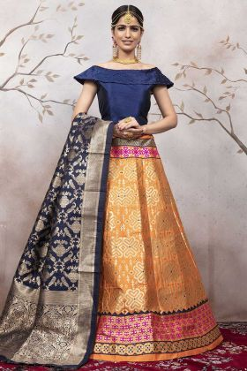Orange Color Jacqaurd Silk Indian Wedding Lehenga