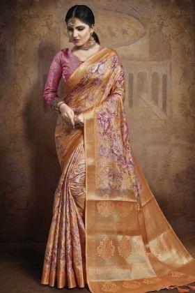 Orange Color Jacquard Silk Weaving Saree