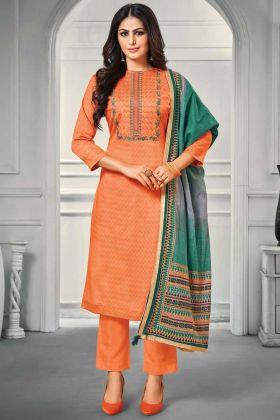 Orange Color Party Wear Jam Satin Salwar Suit