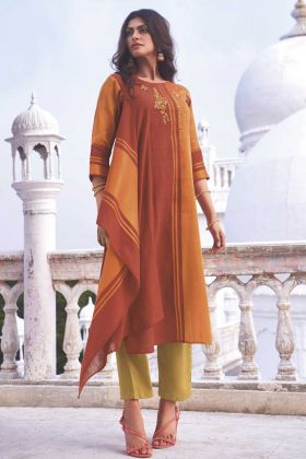 Orange Color Party Wear Linen Cotton Handloom Top With Bottom