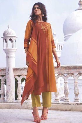 Orange Color Party Wear Linen Cotton Handloom Top With Bottom