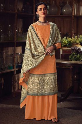 Orange Color Party Wear Pure Wool Pashmina Plazzo Suit