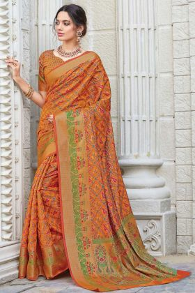 Orange Color Patola Silk In Weaving Work For Party Wear