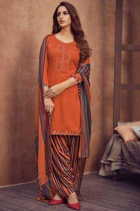 Orange Color Pure Viscose Rayon Panjabi Salwar Patiala Kameez