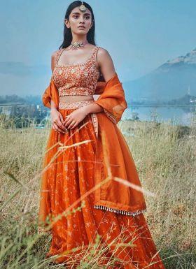 Orange Digital Print Lehenga Choli