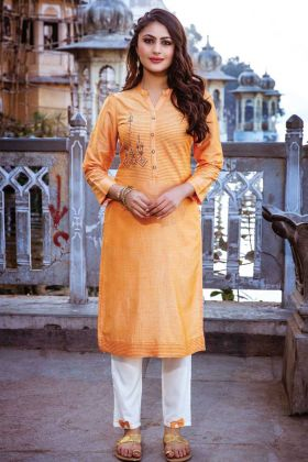 Orange Readymade Kurti With White Color Bottom