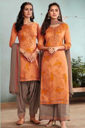 Orange Satin Cotton Patiala Suit Dress Material