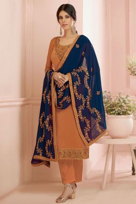 Orange Satin Georgette Full Sleeve Semi Stitched Salwar Suit
