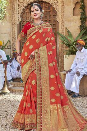 Orange Satin Jacquard Silk Saree In Zari Work