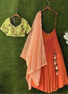 Orange Thread Work Lehenga Choli