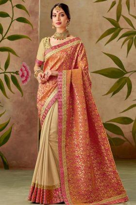 Orange And Beige Half N Half Silk Traditional Saree