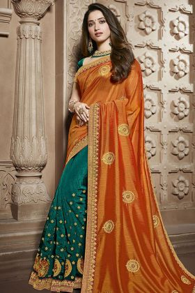 Orange and Green Silk Wedding Saree