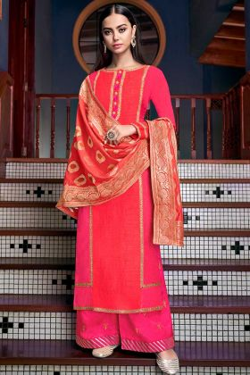 Orange and Rani Pink Color Soft Art Silk Palazzo Dress