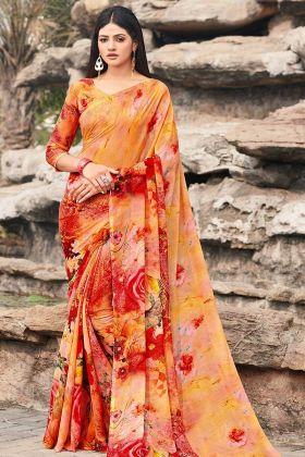 Orange And Red Chiffon Casual Saree In Printed Work