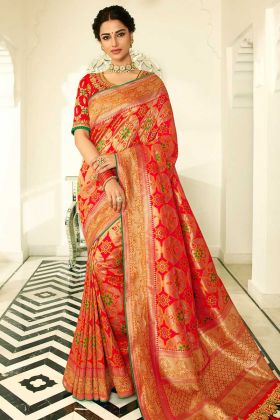 Orange and Red Color Banarasi Silk Banarasi Saree With Stone Work