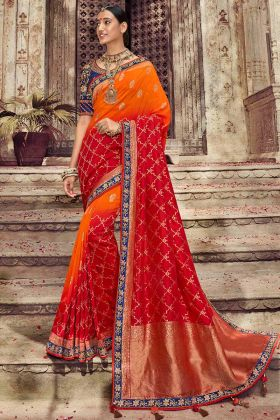 Orange and Red Dola Art Silk Festival Saree With Gota Patti Work