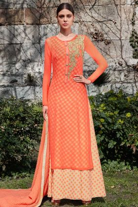 Orange And White Georgette Indo Western Style Suit