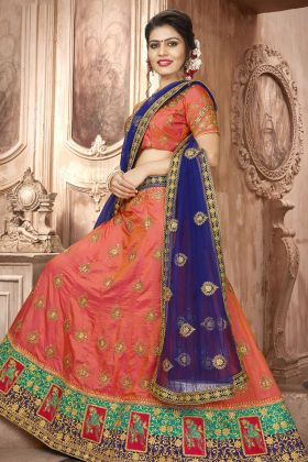 Orange Art Silk Wedding Lehenga Choli