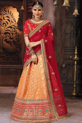 Orange Banarasi Art Silk  Lehenga Choli
