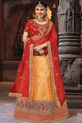 Orange Banarasi Art Silk Lehenga