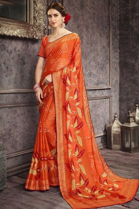Orange Casual Wear Chiffon Printed Traditional Saree