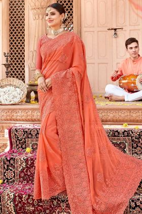 Orange Chiffon Embroidered Saree With Art Silk Blouse