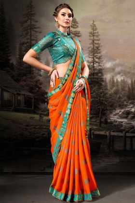 Orange Chiffon Festive Saree