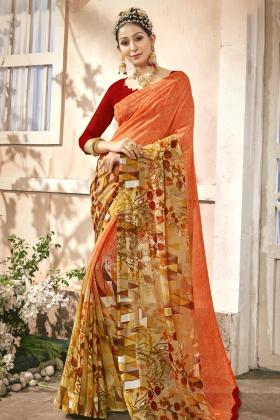 Orange Chiffon Printed Saree Online
