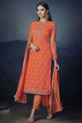 Orange Color Aari Work Georgette Pant Style Dress