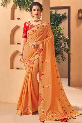 Orange Color Art Silk Saree With Embroidery Work