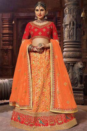 Orange color Banarasi Lehenga Choli