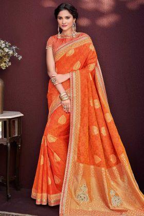 Orange Color Banarasi Silk Jacquard Saree With Embroidery Work